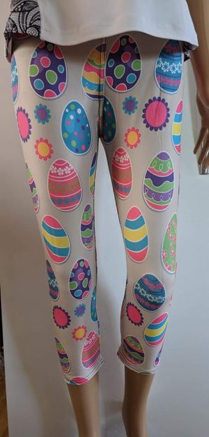 Easter Paint Printed Capri Leggings