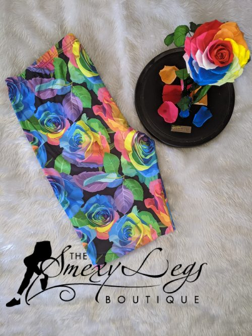 Rainbow Rose Printed Regular Band Capri Length Leggings