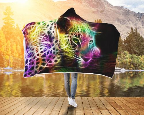 Cheetah Lights Hooded Blanket