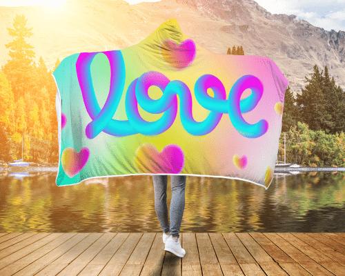 Love Noodle Hooded Blanket