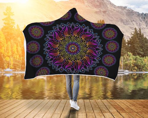 Mandala Stars Hooded Blanket