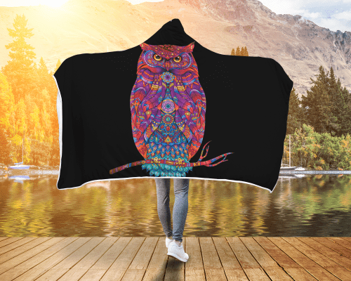 Colour Owl Hooded Blanket
