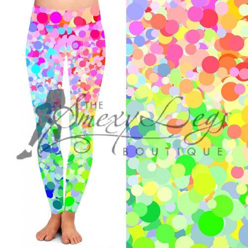 Light up Confetti Printed Full Length Yoga Band Leggings