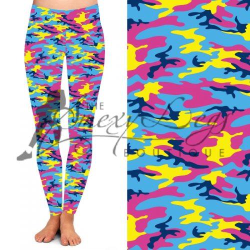 Hi Vis Camo Printed Full Length Yoga Band Leggings