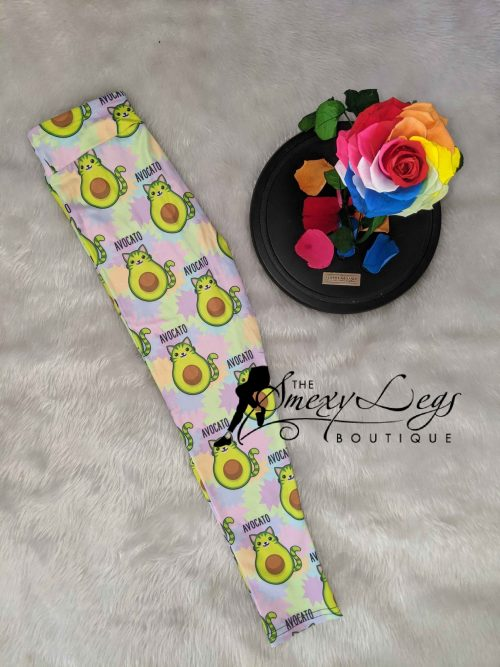 Avocato Vibrance Printed Kids Yoga Band Leggings