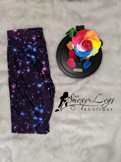 Purple Night Sky Capri Length Yoga Band Printed Leggings