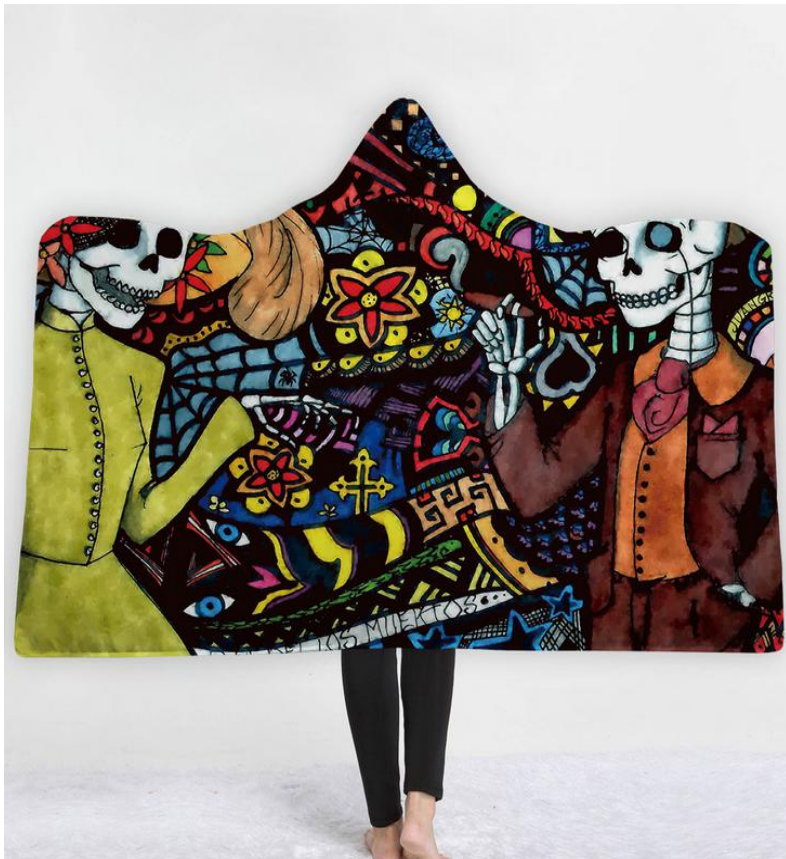Date of the Dead Hooded Blanket