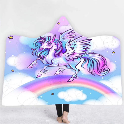Unicorn Rainbows Hooded Blanket