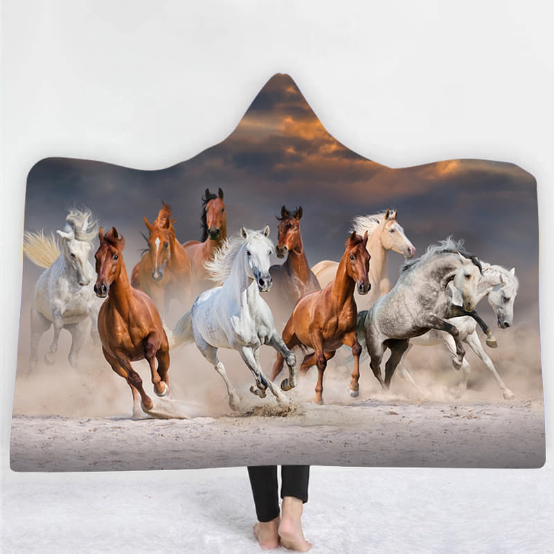 Horse Herd Hooded Blanket