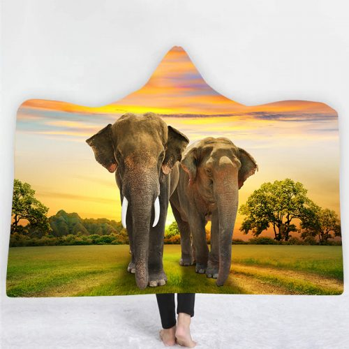 Elephant Sunset Hooded Blanket