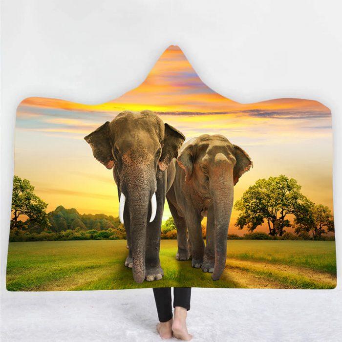 Elephant Sunset Hooded Blanket