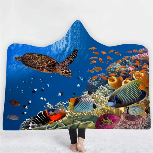 Aquarium Hooded Blanket