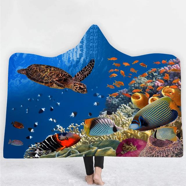 Aquarium Hooded Blanket