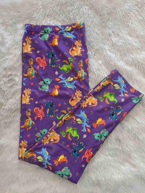 Purple Dragon Full Length Regular Band Printed Leggings1