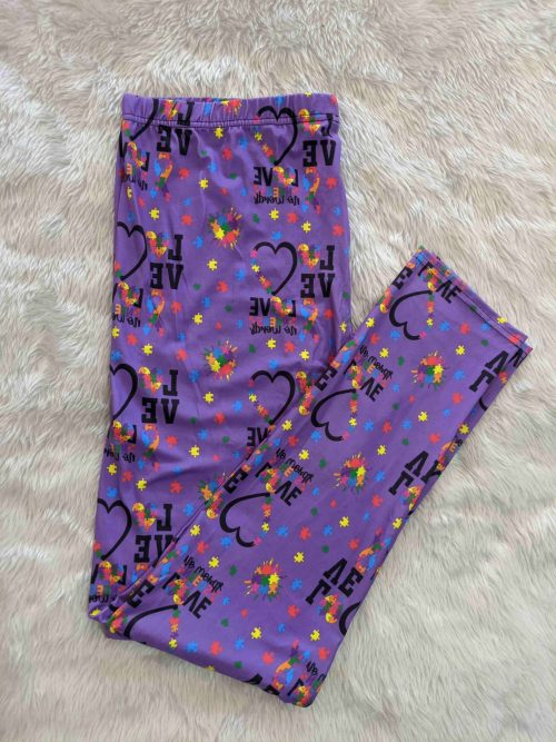 Autism Love Printed Full Length Regular Band Leggings