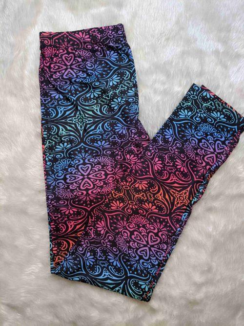 Mandala Love Printed Full Length Regular Band Leggings