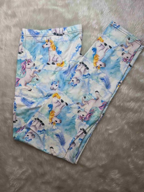 Fluffy Cloud Unicorns Full Length Regular Band Printed Leggings