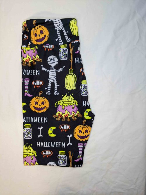 Halloween Fire Printed Capri Length Yoga Band Leggings