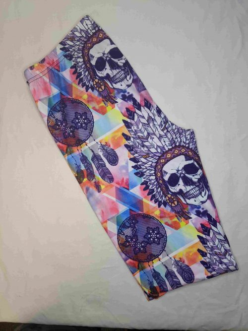 IndiSkull Printed Regular Band Capri Length Leggings