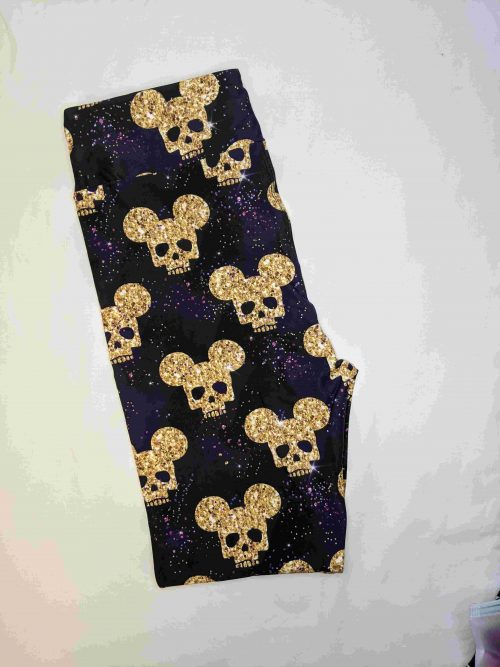 Mickey Skull Capri Length Yoga Band Printed Leggings