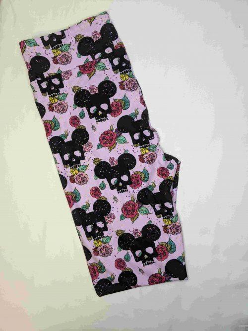 Mickey Floral Capri Length Yoga Band Printed Leggings