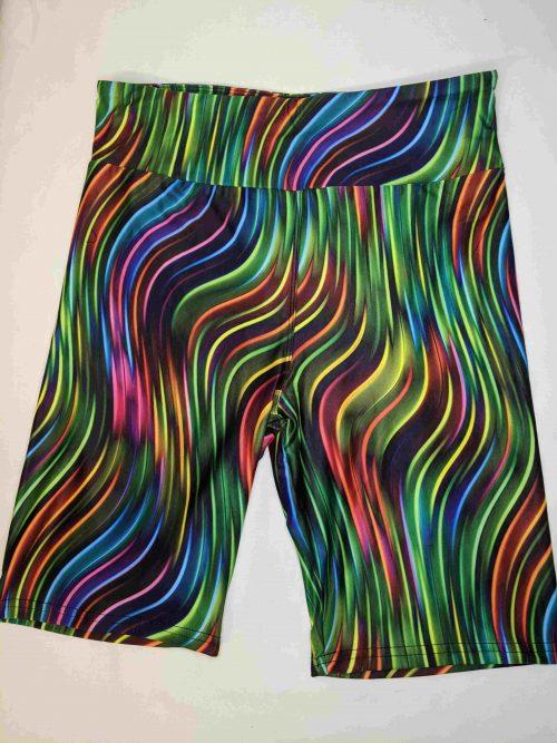 Neon Stripes Yoga Band Printed Bike Shorts