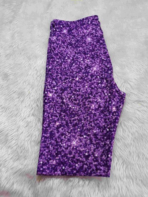 The Glitter Purple Printed Capri Length Yoga Band Leggings