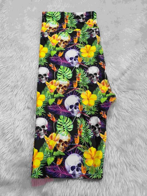 Jungle Remains Printed Capri Length Yoga Band Leggings