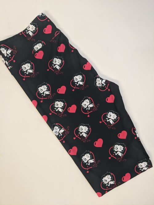 Betty Boop Of Love Capri Length Yoga Band Printed Leggings