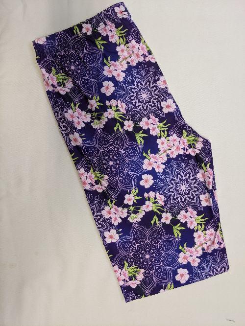 Floral Zen Capri Length Regular Band Printed Leggings