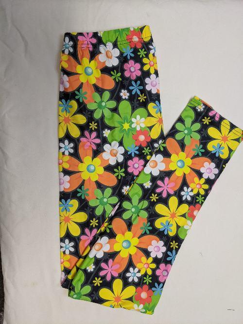 Cartoon Flowers Full Length Regular Band Printed Leggings