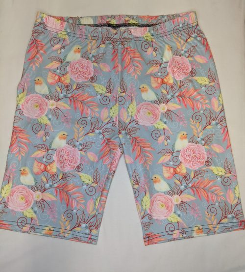 Pink Flower Bird Regular Printed Bike Shorts