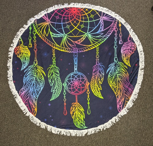 Neon Nights Round Beach Towel