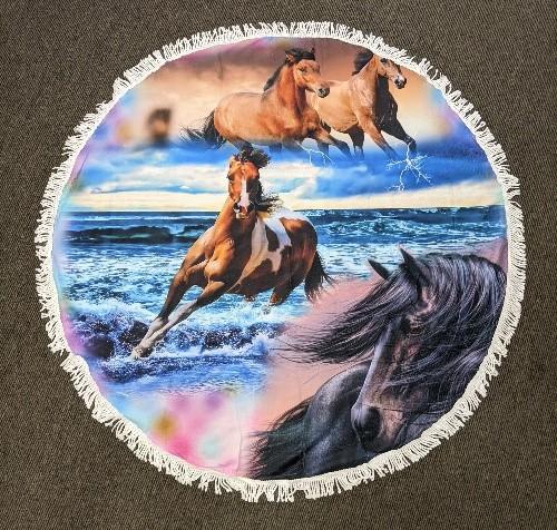Beach Horse Round Beach Towel