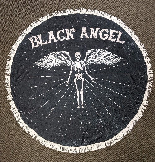 Black Angel Round Beach Towel