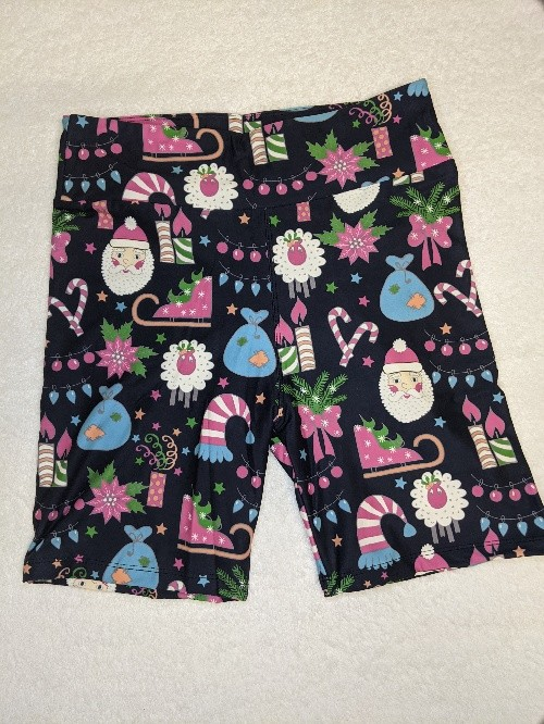 Christmas Pink and Blues Yoga Band Printed Bike Shorts