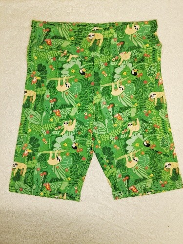 Green Tree Sloth Yoga Band Printed Bike Shorts