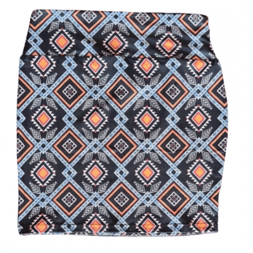 Orange Diamond Yoga Band Printed Mini Skirt