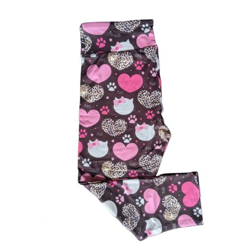 Cat Love Capri Length Yoga Band Printed Leggings