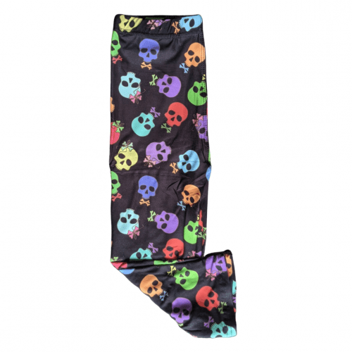 Bow Tie Skull Printed Kids Capri Length Leggings