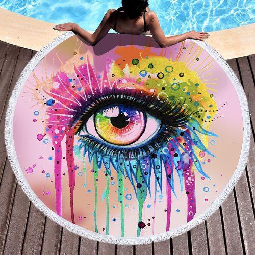 Eye Makeup Round Beach Towel