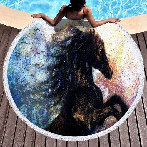 Black Beauty Round Beach Towel