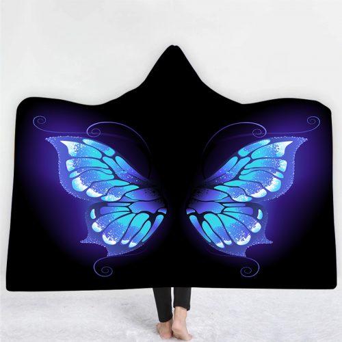 Blue Wing Flutter Hooded Blanket