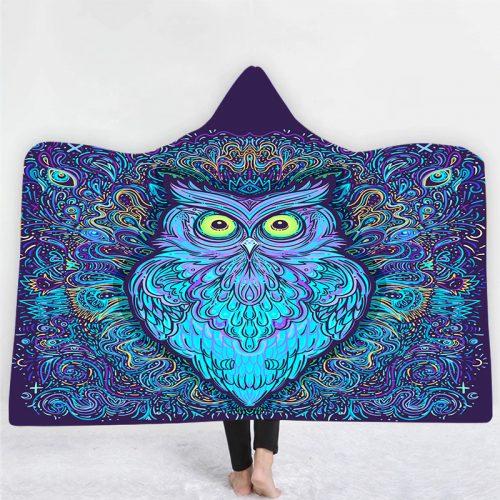 Bright Eye Owl Art Hooded Blanket