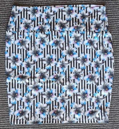 Flower Stripes Yoga Band Printed Mini Skirt