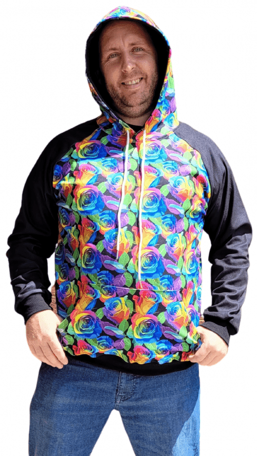 Rainbow Rose with Black Sleeves Printed Hoodie 1