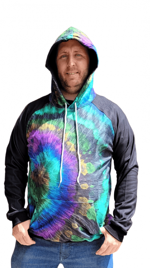 Blue Spectrum with Black Sleeves Printed Hoodie1