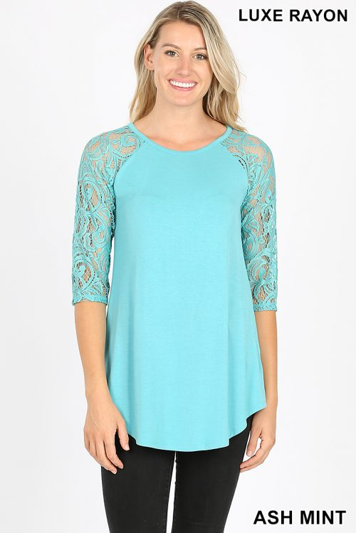 AT-5571P Ash Mint Luxe Rayon Lace Half Sleeve Ladies Top