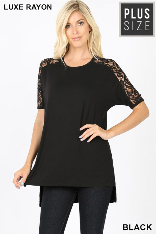 AT-5572XP Black Plus Size Luxe Lace Trim With A Side Slit