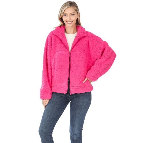 FJ-75017 Hot Pink Soft Sherpa Jacket With Zipper
